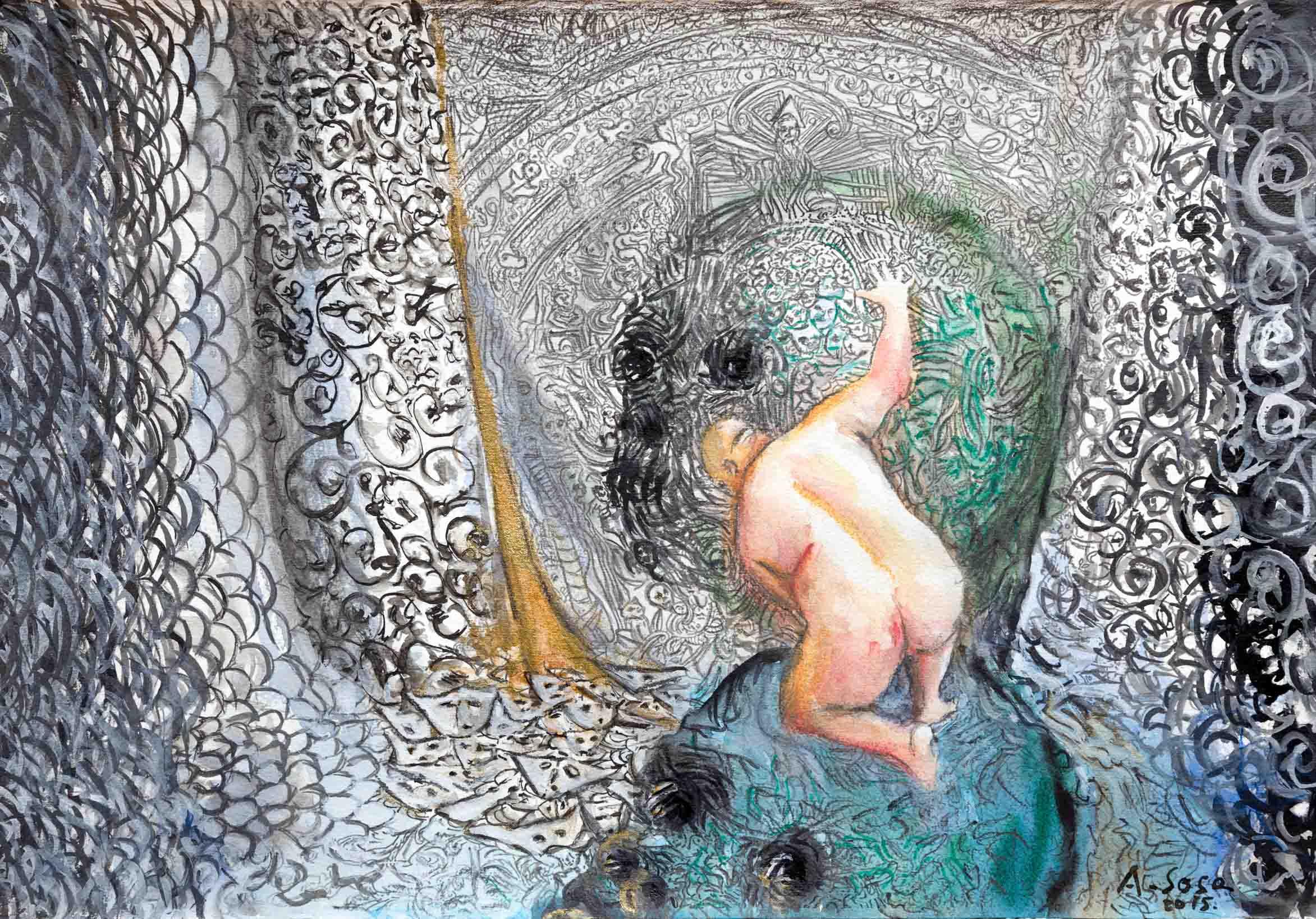 Antonio SOSA. La cueva vertical, 2015. Tinta china y acuarela sobre papel.28 x 38 cm
