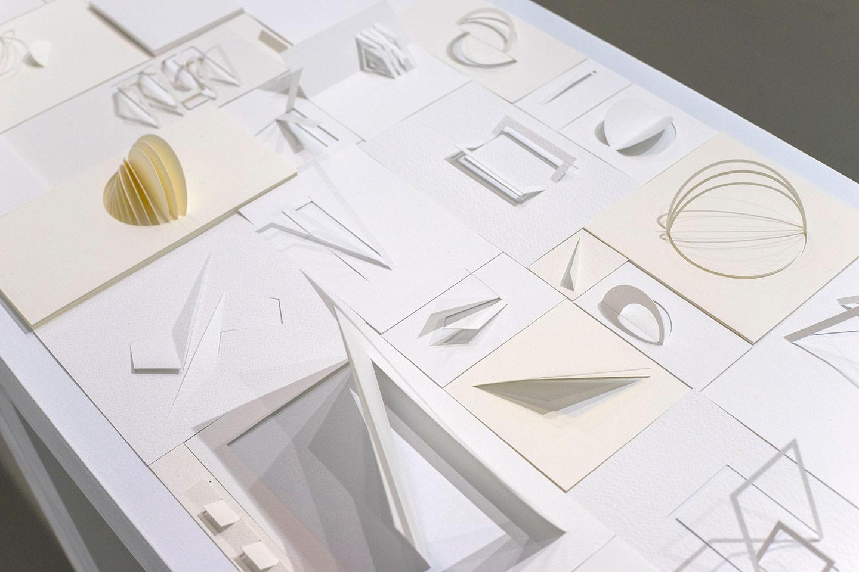 Liliana-ZAPATA.Metamorfosis-silenciosas,-2015.-Esculturas-en-papel.-2-Mesas-de-50x150-cm-cada-una