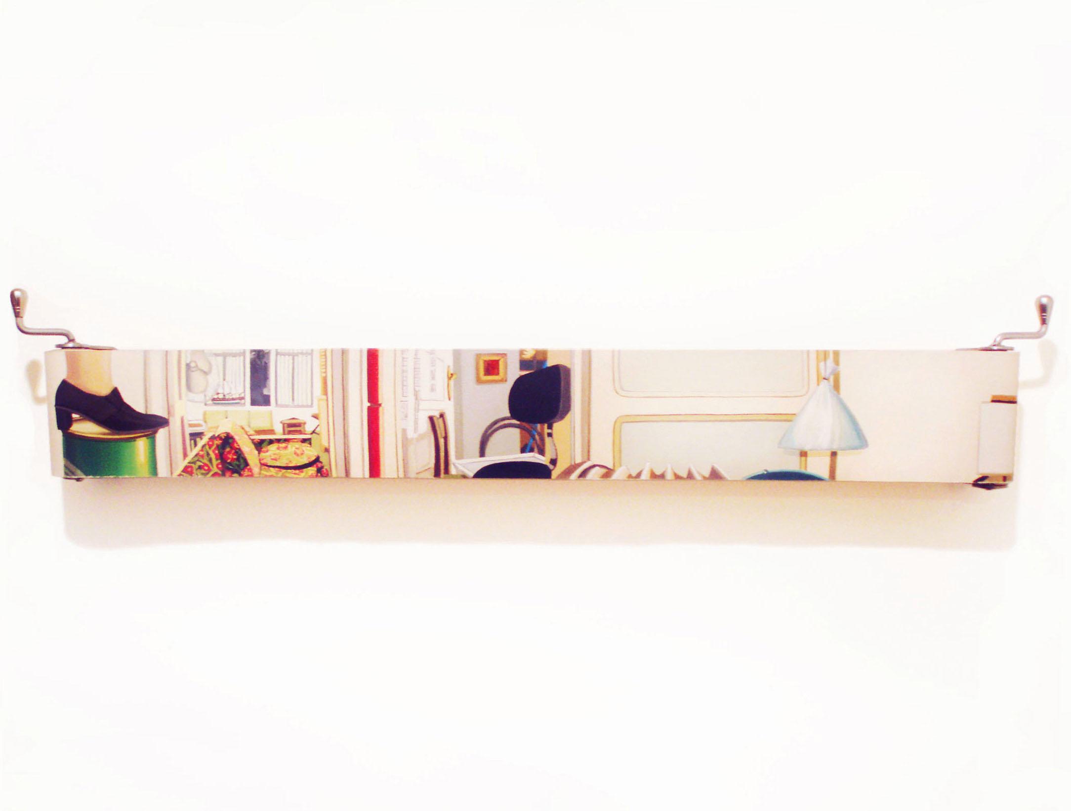 Marta BRAN. Acciones en casa, 2012. Rodillos y Óleos. Variables